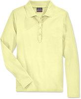 Nautica Uniform Ruffled Long-Sleeve Polo Shirt, Plus Girls