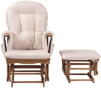 BEIGE Kub Haywood Reclining Glider Nursing Chair and Footstool,