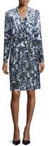Kay Unger New York Long-Sleeve Floral-Print Jersey Dress, Black/White