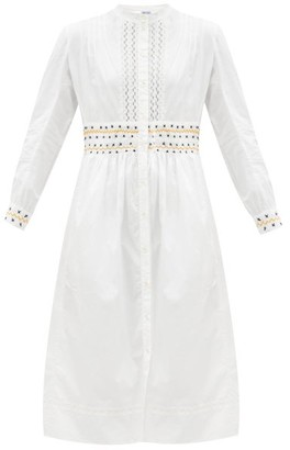 Thierry Colson Rebecca Floral Lace-trimmed Cotton Shirt Dress - White/ivory