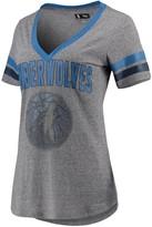 G Iii Women's G-III 4Her by Carl Banks Gray/Blue Minnesota Timberwolves Walk Off Crystal Applique Logo V-Neck T-Shirt