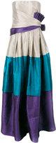Alberta Ferretti strapless blocked evening gown
