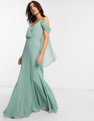 Goddiva cold shoulder v neck maxi dress in mint