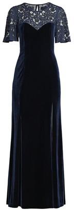 Aidan Mattox Beaded Flutter-Sleeve Velvet Gown