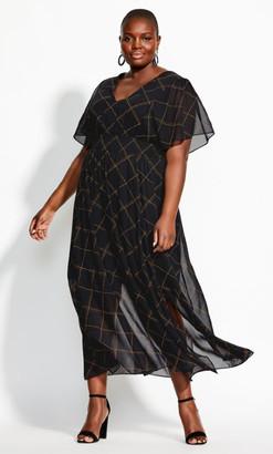 City Chic Scratch Check Maxi Dress - black
