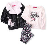 Betsey Johnson Toddler Girls) 3-Piece Faux Leather Jacket & Printed Leggings Set