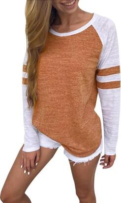 Toamen Women's Simple Casual Autumn Loose Round Neck Long Sleeve Tops Blouse Jumper T-Shirt (XL
