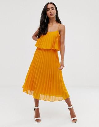 Asos Design DESIGN pleated crop top midi dress with scoop neck-Yellow