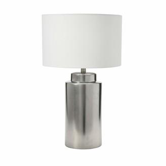 Creative Co-op Stoneware Silver Metallic Glaze Table Lamp