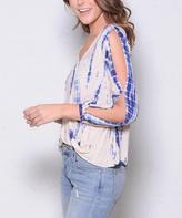 Paparazzi Blue Tie-Dye Crossover Open-Shoulder Top