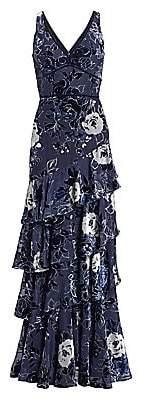 Marchesa Women's Floral V-Neck Velvet Burnout Gown