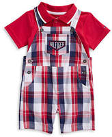 Tommy Hilfiger Short-Sleeve Polo and Plaid Cotton Shortall Set