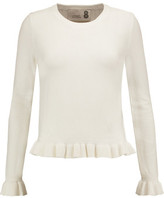 Eight Ruffled Stretch-Knit Sweater