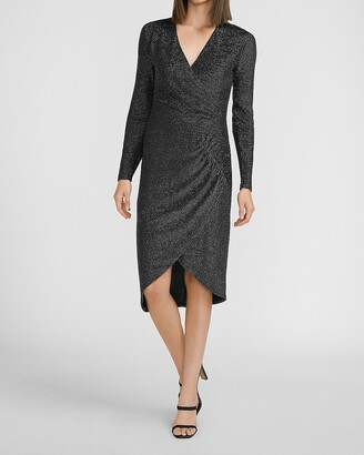 Express Metallic Cinched V-Neck Sheath Dress