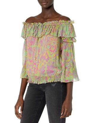 Ramy Brook Women's Printed Shaylyn Off The Shoulder Long Sleeve Top