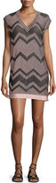 M Missoni Cap-Sleeve Mesh Lurex®; Mini Dress, Blush