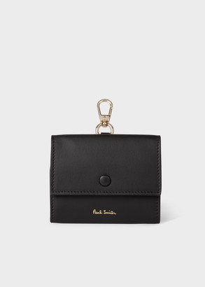 Paul Smith Black Leather Clip-On Coin Pouch