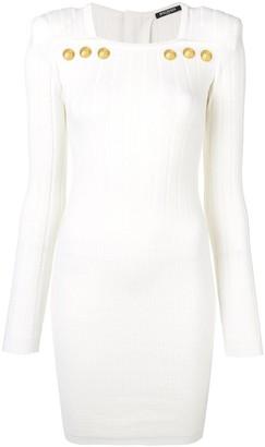 Balmain Ribbed Knit Bodycon Dress