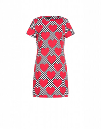 Love Moschino Hearts Jersey Dress Woman Red Size 38 It - (4 Us)