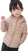 AugusWu Unisex Boys Girls Packable Hoodie Wavy Line Down Coats Puffer Jacket 130 Eggplant