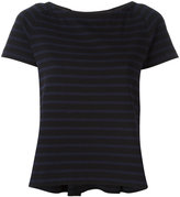 Sacai striped grosgrain trim T-shirt - women - Cotton - 2