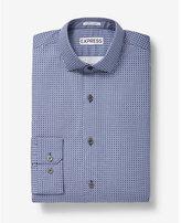 Express slim fit square print cotton dress shirt