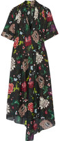 ADAM by Adam Lippes Gathered Floral-print Cotton-voile Dress - Black