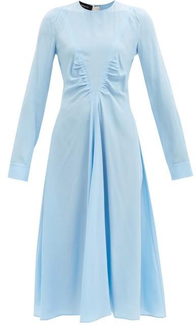 Rochas Gathered V-shape Silk-crepe Midi Dress - Blue