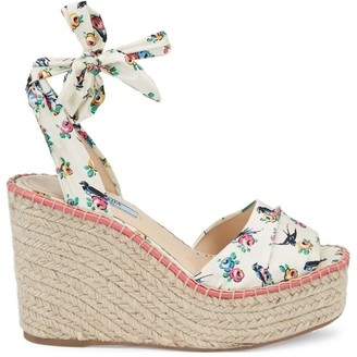 Prada Raffia & Floral-Print Silk Wedge Sandals