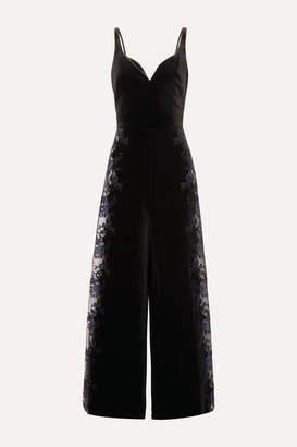 Myla Devonshire Place Lace-paneled Velvet Jumpsuit - Blue
