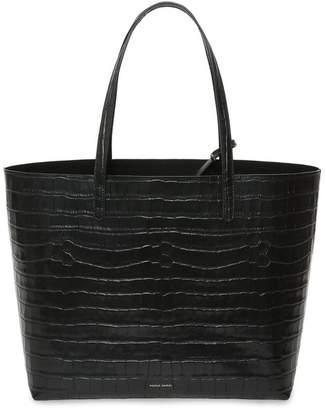 Mansur Gavriel Croc Embossed Leather Large Tote - Black