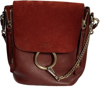 Chloé Faye Burgundy Leather Backpacks
