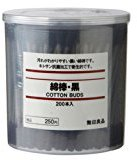 Muji MoMa Cotton Buds 200pcs inside Black Color
