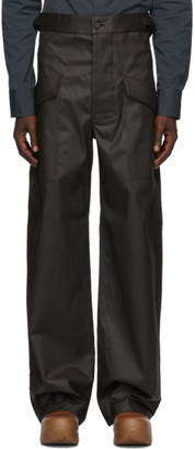 Bottega Veneta Brown Coated Cotton Trousers