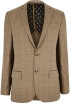 River Island MensCamel check wool-blend tailored fit blazer