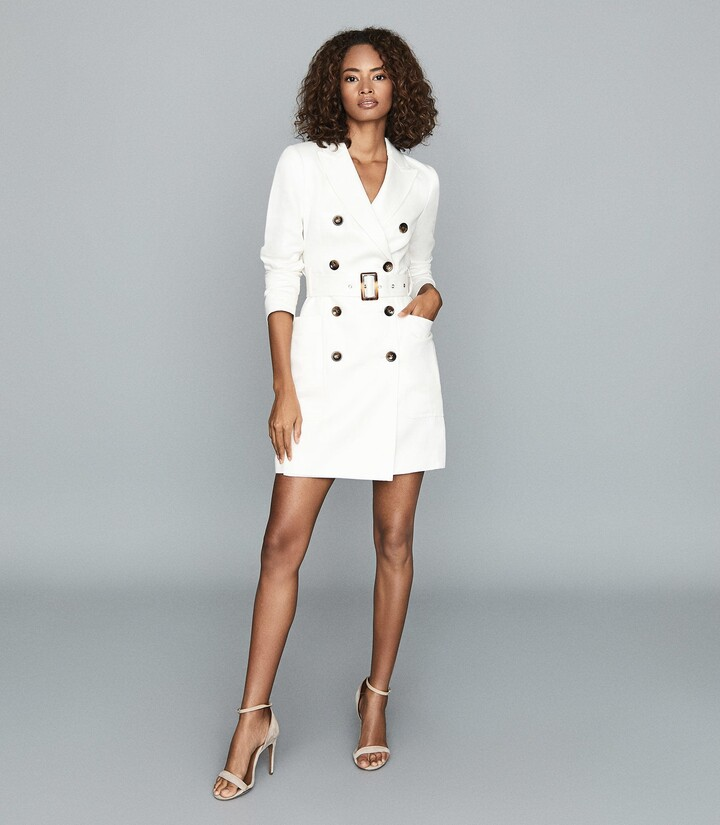 Reiss Beatrice - Linen Blend Belted Tux Dress in Ivory
