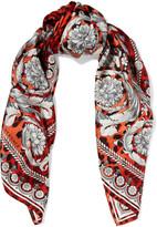 Versace Leopard-print silk-satin scarf