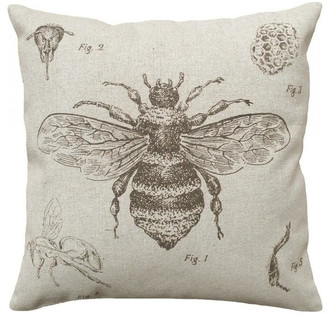 STUDY 123 Creations Bee Smokey Gray, Hand-Printed Linen Pillow