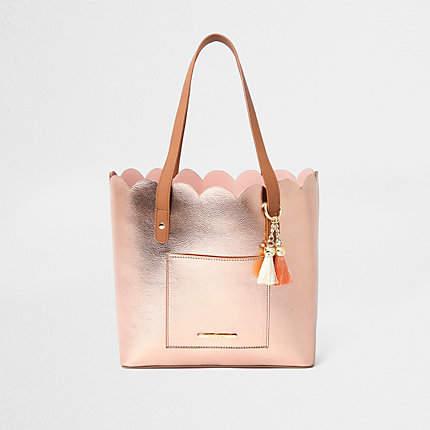 River Island Girls rose gold scallop shopper tote bag