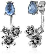 lonna & lilly Silver-Tone and Blue Flower Floater Earrings Jacket
