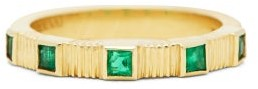 Retrouvai - Pleated Emerald & 14kt Gold Ring - Womens - Green Gold