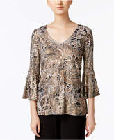 MSK Sequined Bell-Sleeve Blouse