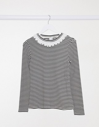 And other stories & stripe jersey top with frill collar in navy and white
