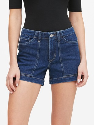 "Banana Republic Petite Mid-Rise 4"" Utility Denim Short"