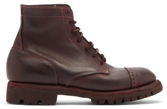 Guidi Soldato Distressed-leather Boots - Burgundy
