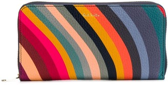 Paul Smith Striped Leather Zip-Up Purse