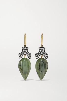 Sylva & Cie 18-karat Gold, Oxidised Sterling Silver, Jade And Diamond Earrings