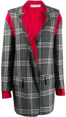 Marni deconstructed checkered coat
