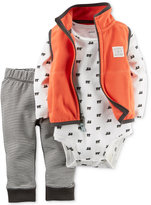 Carter's Baby Microfleece Boys' 3-Pc. Vest, Bear-Print Bodysuit & Pants Set