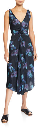 Vince Painted Floral Twist Front Sleeveless Crinkle Dress